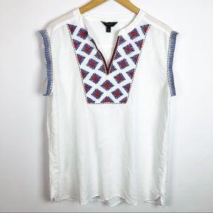 J Crew Geometric Embroidered Linen Top